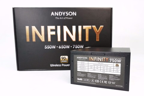 Andyson Infinity 750W All Japan Cap - Full Modular - Single Rail - 90 Plus Gold PSU
