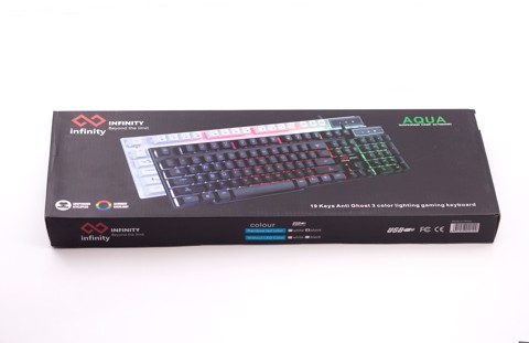 infinity Aqua Black - 3 mode Rainbow led Gaming Keyboard