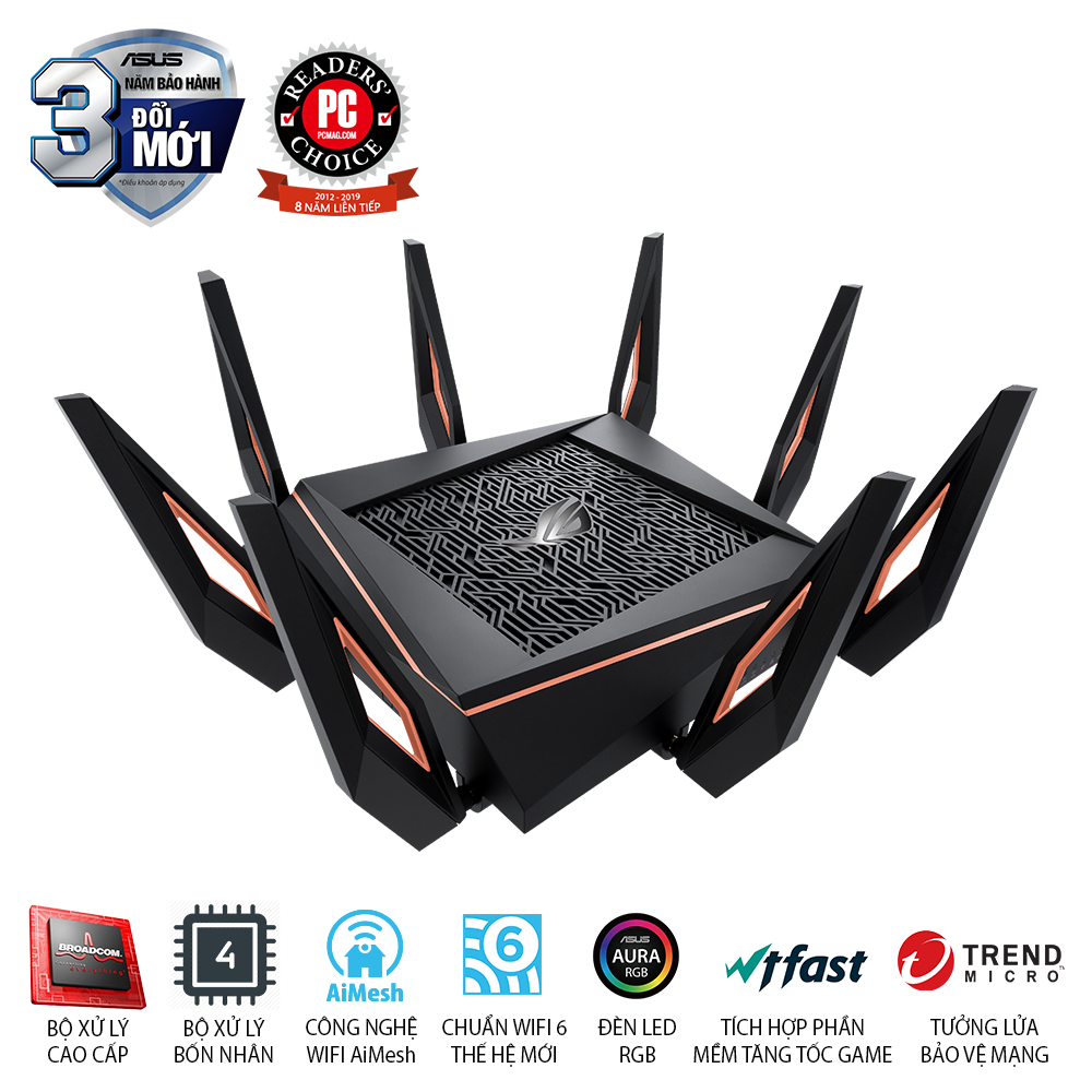 ASUS ROG Rapture GT-AX11000 (Gaming Router) AX11000 WTFast, AiMesh 360 WIFI Mesh, 3 băng tần, chipset Broadcom, AiProtection, USB 3.0