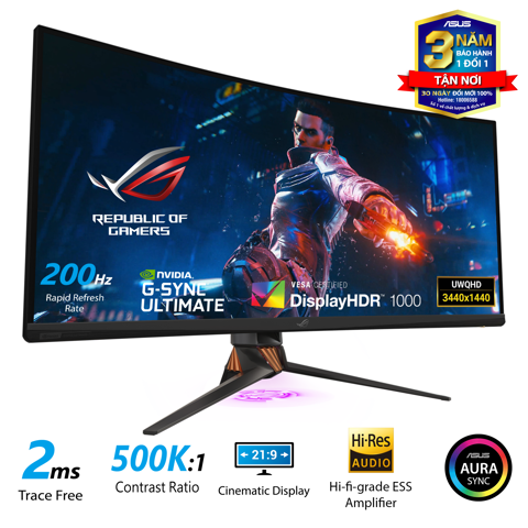 ASUS ROG Swift PG35VQ Gaming Monitor - 35 inch, Ultra-WQHD, HDR, 21:9 Curved, 200Hz, G-SYNC™