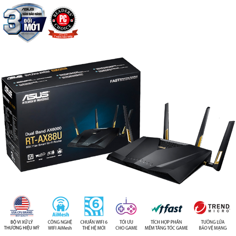 ASUS RT-AX88U (Gaming Router) AX6000 MU-MIMO WTFast AiMesh 360 WIFI, 2 băng tần, chipset Broadcom, AiProtection, USB 3.0 x 2