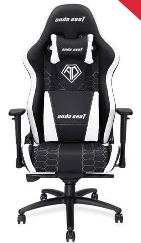 Anda Seat Spirit King Black/White - Full PVC Leather 4D Armrest Gaming Chair