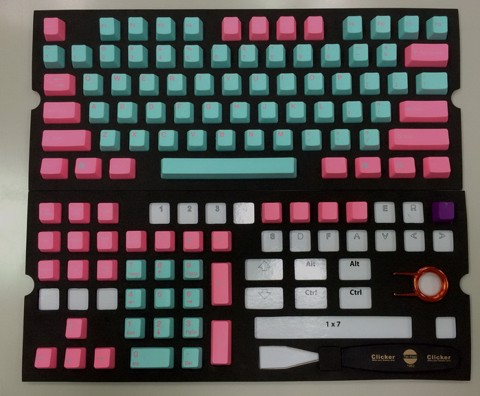 Tai-Hao Double Shot PBT Pink/Light Blue -Nano Antibiosis 99.9% 104 keys