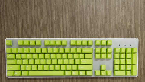 Tai-Hao Double Shot ABS Light Green/White Text - Full 104 keys