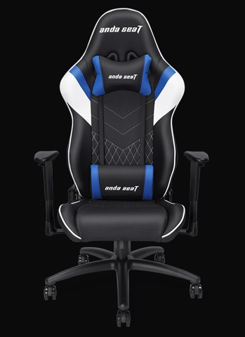 Anda Seat Assassin Black/Blue V2 - Full PVC Leather 4D Armrest Gaming Chair