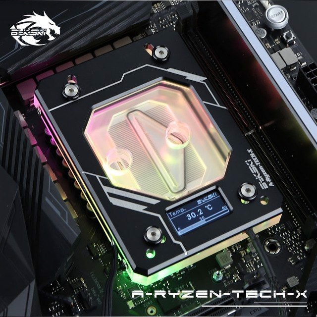 Bykski A-RYZEN-TECH-X Black - Digital RGB Temperature LCD Cpu Blocks