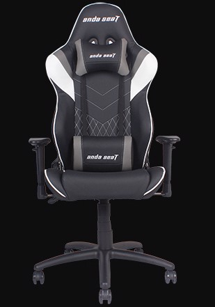 Anda Seat Assassin Black/White/Grey V2 - Full PVC Leather 4D Armrest Gaming Chair
