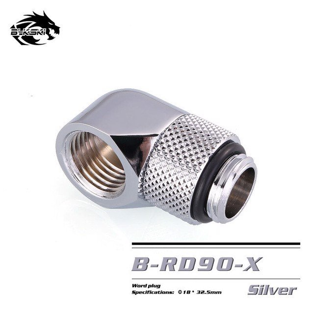 Bykski Silver 90 Rotary Crooked Joints - B-RD90X-SL