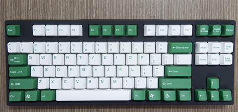 Tai-Hao Double Shot ABS White/Green mixed - Full 104 keys