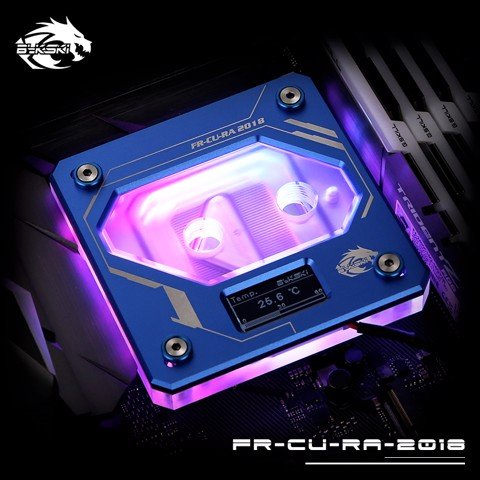 Bykski FR-CU-RA-2018 Blue - Digital RGB Temperature LCD Cpu Blocks