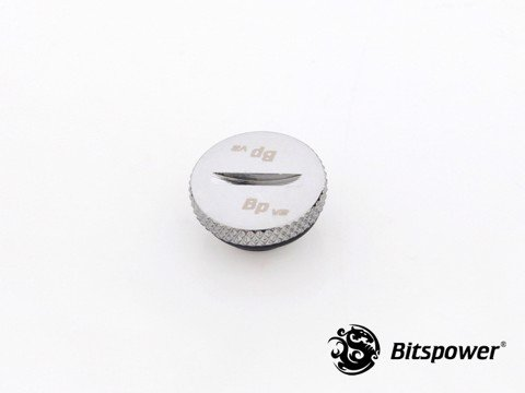 Bitspower G1/4'' Silver Shining Low-Profile Stop Fitting V2