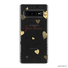 YOUR NAME WITH HEART PATTERN - Samsung Galaxy S10 Plus