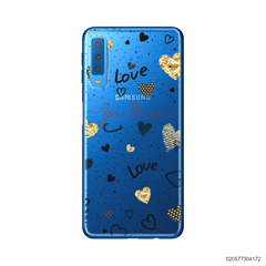 YOUR NAME WITH HEART PATTERN - Samsung Galaxy A7 2018