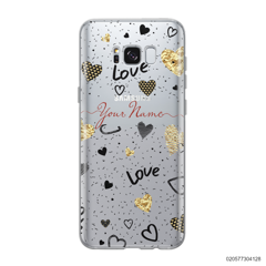 YOUR NAME WITH HEART PATTERN - Samsung Galaxy S8 plus