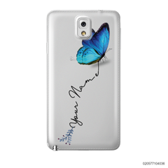 YOUR NAME WITH BLUE BUTTERFLY - Samsung Galaxy Note 3