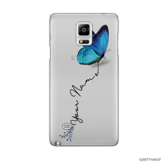 YOUR NAME WITH BLUE BUTTERFLY - Samsung Galaxy Note 4