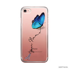 YOUR NAME WITH BLUE BUTTERFLY - Iphone 8