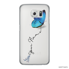 YOUR NAME WITH BLUE BUTTERFLY - Samsung Galaxy S6 Edge
