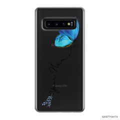 YOUR NAME WITH BLUE BUTTERFLY - Samsung Galaxy S10 Plus