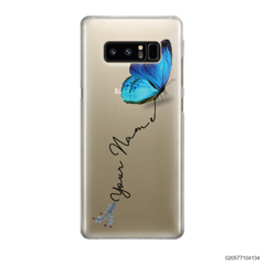 YOUR NAME WITH BLUE BUTTERFLY - Samsung Galaxy Note 8