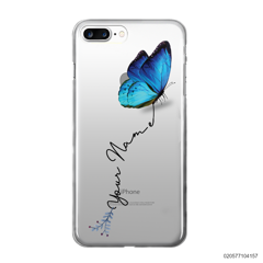 YOUR NAME WITH BLUE BUTTERFLY - Iphone 8 Plus