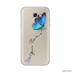 YOUR NAME WITH BLUE BUTTERFLY - Samsung Galaxy A7 2017