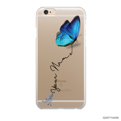 YOUR NAME WITH BLUE BUTTERFLY - IPhone 6/6s Plus