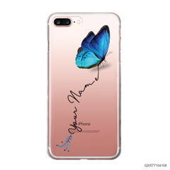 YOUR NAME WITH BLUE BUTTERFLY - iPhone 7 plus