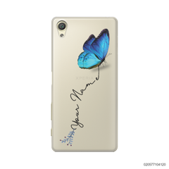 YOUR NAME WITH BLUE BUTTERFLY - Sony Xperia X