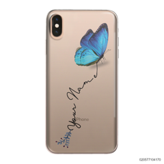 YOUR NAME WITH BLUE BUTTERFLY - Iphone XS Max