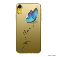 YOUR NAME WITH BLUE BUTTERFLY - Iphone XR