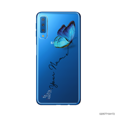 YOUR NAME WITH BLUE BUTTERFLY - Samsung Galaxy A7 2018