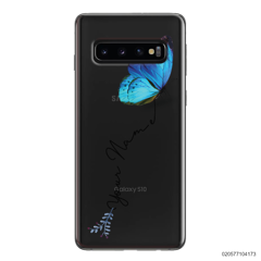 YOUR NAME WITH BLUE BUTTERFLY - Samsung Galaxy S10