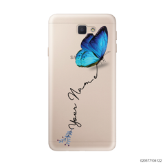 YOUR NAME WITH BLUE BUTTERFLY - Samsung Galaxy J5 Prime