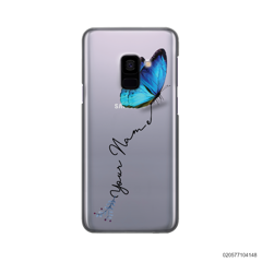 YOUR NAME WITH BLUE BUTTERFLY - Samsung Galaxy A8 2018