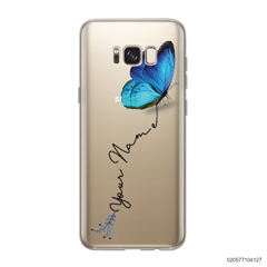 YOUR NAME WITH BLUE BUTTERFLY - Samsung Galaxy S8