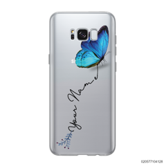 YOUR NAME WITH BLUE BUTTERFLY - Samsung Galaxy S8 plus
