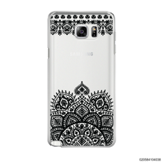MANDALA AND FRILL LINES - BLACK - Samsung Galaxy Note 5