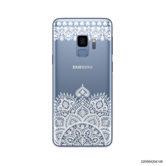 MANDALA AND FRILL LINES - WHITE - Samsung Galaxy S9