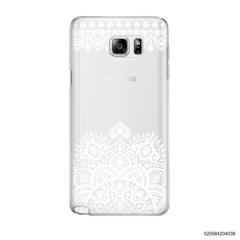 MANDALA AND FRILL LINES - WHITE - Samsung Galaxy Note 5
