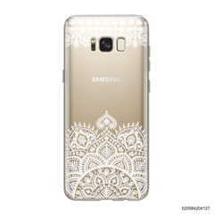 MANDALA AND FRILL LINES - WHITE - Samsung Galaxy S8
