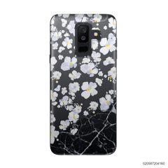 WHITE FLOWER AND BLACK MARBLE - Samsung Galaxy A6 Plus 2018