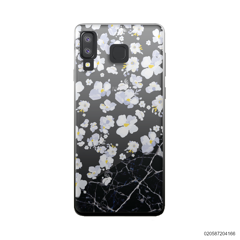 WHITE FLOWER AND BLACK MARBLE - Samsung Galaxy A8 Star