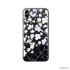 WHITE FLOWER AND BLACK MARBLE - iPhone X/ Xs