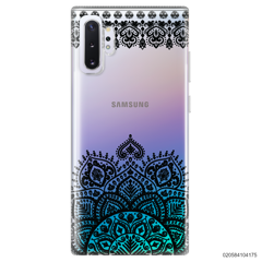 MANDALA AND FRILL LINES - BLACK - Samsung Galaxy Note 10 Plus