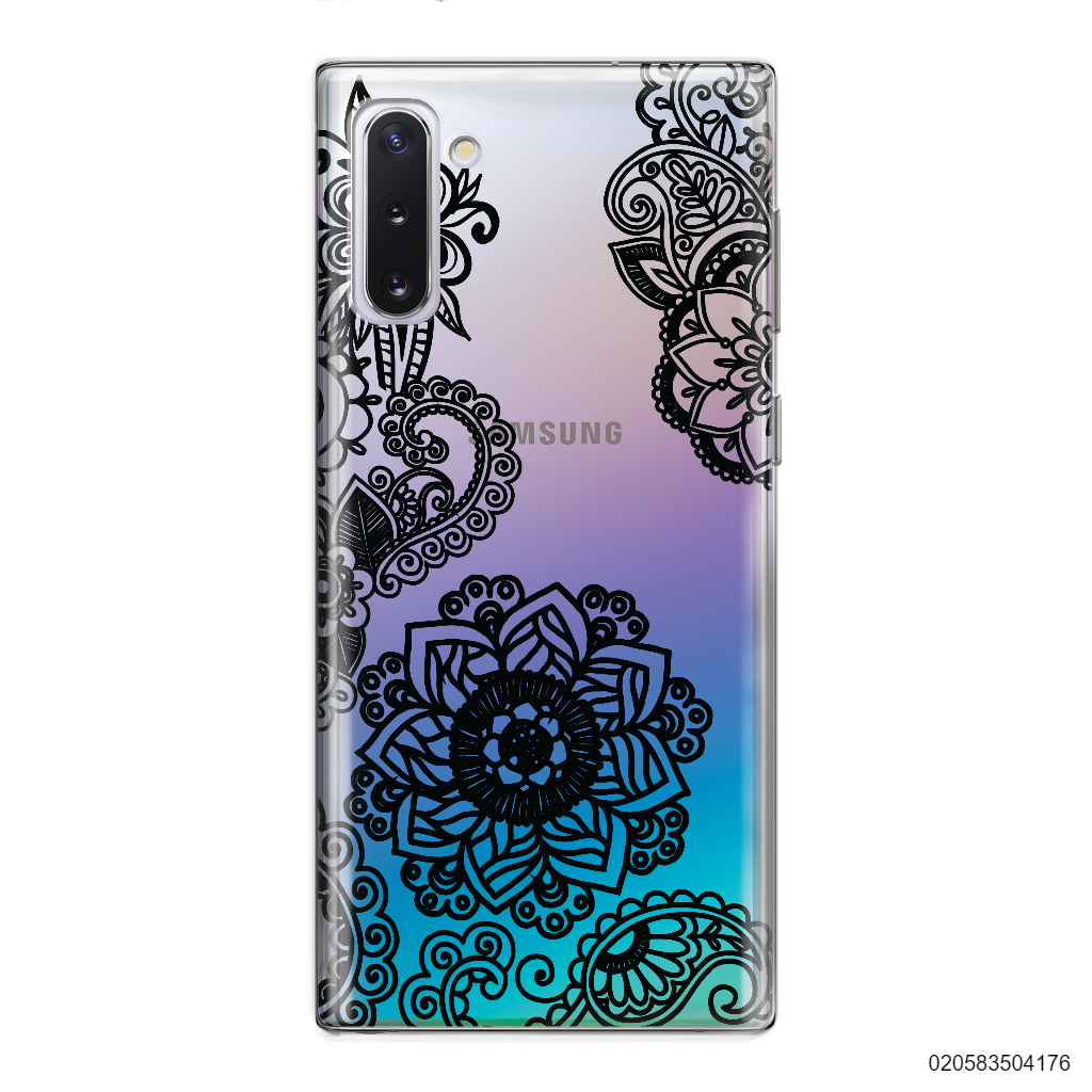 FLOWER IN HENNA STYLE - BLACK - Samsung Galaxy Note 10