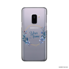CUSTOMIZE BLUE LEAVES FRAME - Samsung Galaxy A8 Plus 2018