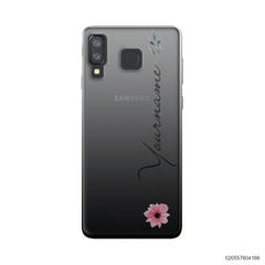 CUSTOM YOUR NAME WITH PINK FLOWER - Samsung Galaxy A8 Star