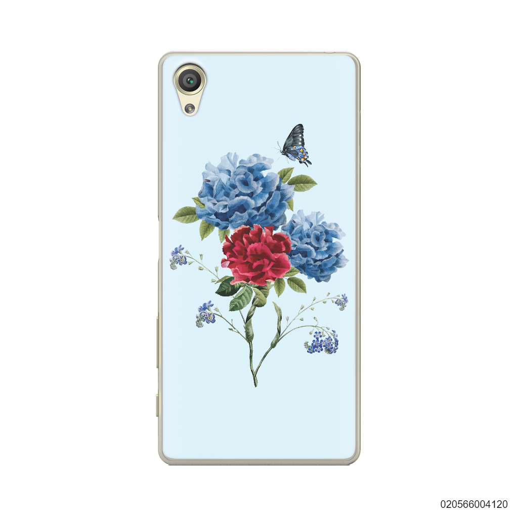 BLUE PEONY BOUQUET ON BLUE THEME - Sony Xperia X