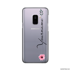 CUSTOM YOUR NAME WITH PINK FLOWER - Samsung Galaxy A8 Plus 2018